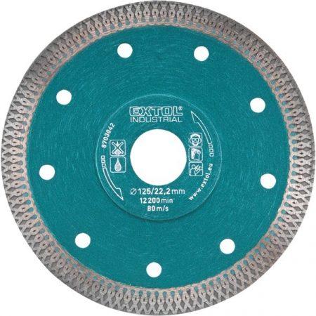 gyémántvágó, ipari korong, TURBO, extra vékony vágás: 1,2mm vastagság; 125×22,2mm, száraz és vizes vágásra EXTOL
