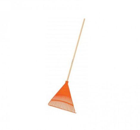 TRUPER Műanyag lombseprű (narancs) 22 ágú, 56 cm széles fej, 122 cm hosszú fa nyél EP-22R.