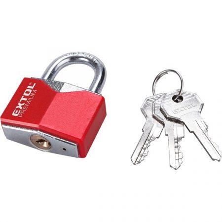 lakat, vas, rombusz alakú, műanyag borítás, 3db kulcs; 30mm, edzett acél kengyel, szárátmérő: 5,2 mm
